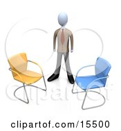 Businessman In A Suit Standing Between An Orange And A Blue Chair Symbolizing Two Different Job Opportunities That He Must Choose Between