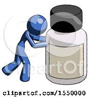 Blue Design Mascot Woman Pushing Large Medicine Bottle