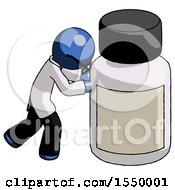 Blue Doctor Scientist Man Pushing Large Medicine Bottle
