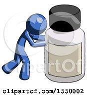 Blue Design Mascot Man Pushing Large Medicine Bottle