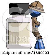 Blue Explorer Ranger Man Leaning Against Large Medicine Bottle