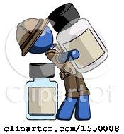 Blue Explorer Ranger Man Holding Large White Medicine Bottle With Bottle In Background
