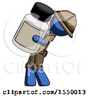 Blue Explorer Ranger Man Holding Large White Medicine Bottle