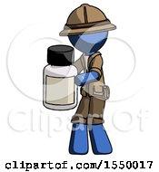 Blue Explorer Ranger Man Holding White Medicine Bottle