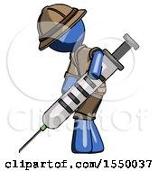 Blue Explorer Ranger Man Using Syringe Giving Injection