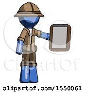 Blue Explorer Ranger Man Showing Clipboard To Viewer