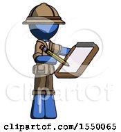 Blue Explorer Ranger Man Using Clipboard And Pencil