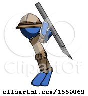 Blue Explorer Ranger Man Stabbing Or Cutting With Scalpel