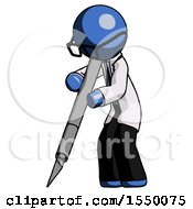 Blue Doctor Scientist Man Cutting With Large Scalpel