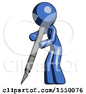 Blue Design Mascot Man Cutting With Large Scalpel