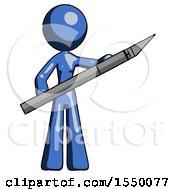 Blue Design Mascot Woman Holding Large Scalpel