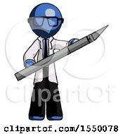 Blue Doctor Scientist Man Holding Large Scalpel
