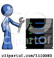 Blue Design Mascot Woman Server Administrator Doing Repairs
