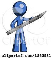 Blue Design Mascot Man Holding Large Scalpel