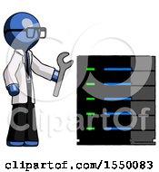 Blue Doctor Scientist Man Server Administrator Doing Repairs