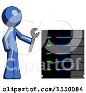 Blue Design Mascot Man Server Administrator Doing Repairs