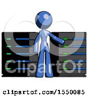 Blue Design Mascot Woman With Server Racks In Front Of Two Networked Systems