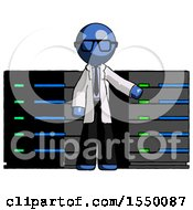Blue Doctor Scientist Man With Server Racks In Front Of Two Networked Systems