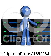 Blue Design Mascot Man With Server Racks In Front Of Two Networked Systems
