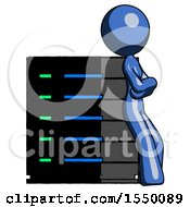 Blue Design Mascot Woman Resting Against Server Rack Viewed At Angle