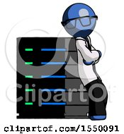 Blue Doctor Scientist Man Resting Against Server Rack Viewed At Angle