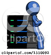 Blue Design Mascot Man Resting Against Server Rack Viewed At Angle