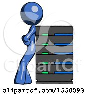 Blue Design Mascot Woman Resting Against Server Rack