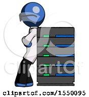 Blue Doctor Scientist Man Resting Against Server Rack