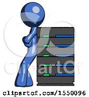 Blue Design Mascot Man Resting Against Server Rack