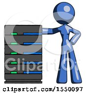 Blue Design Mascot Woman With Server Rack Leaning Confidently Against It