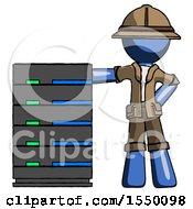 Blue Explorer Ranger Man With Server Rack Leaning Confidently Against It