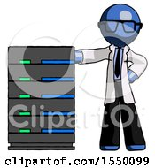 Blue Doctor Scientist Man With Server Rack Leaning Confidently Against It