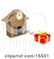 Gift Wrapped In Red Paper And A Gold Bow And Ribbon Popping Out Of A Cuckoo Clock As A Reminder To Buy A Birthday Or Christmas Present
