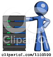 Blue Design Mascot Man With Server Rack Leaning Confidently Against It