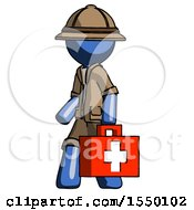 Blue Explorer Ranger Man Walking With Medical Aid Briefcase To Left