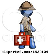 Blue Explorer Ranger Man Walking With Medical Aid Briefcase To Right