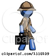 Blue Explorer Ranger Man Walking With Briefcase To The Right