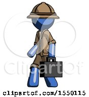 Blue Explorer Ranger Man Walking With Briefcase To The Left