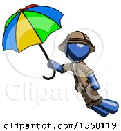 Blue Explorer Ranger Man Flying With Rainbow Colored Umbrella