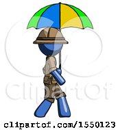Blue Explorer Ranger Man Walking With Colored Umbrella