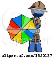 Blue Explorer Ranger Man Holding Rainbow Umbrella Out To Viewer