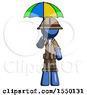 Blue Explorer Ranger Man Holding Umbrella Rainbow Colored