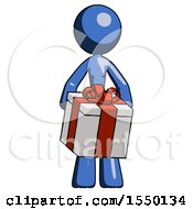 Blue Design Mascot Woman Gifting Present With Large Bow Front View