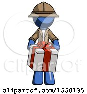 Blue Explorer Ranger Man Gifting Present With Large Bow Front View