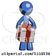 Blue Design Mascot Man Gifting Present With Large Bow Front View