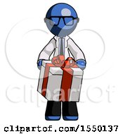 Blue Doctor Scientist Man Gifting Present With Large Bow Front View