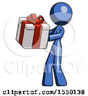 Blue Design Mascot Woman Presenting A Present With Large Red Bow On It