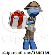 Blue Explorer Ranger Man Presenting A Present With Large Red Bow On It