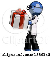 Blue Doctor Scientist Man Presenting A Present With Large Red Bow On It