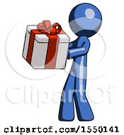 Blue Design Mascot Man Presenting A Present With Large Red Bow On It